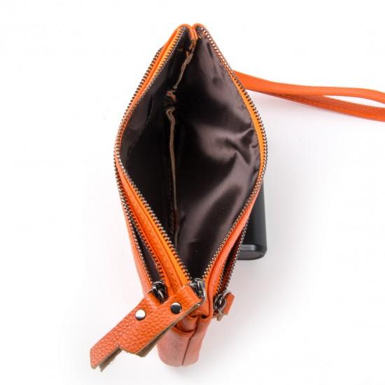Жіноча косметичка з натуральної шкіри ALEX RAI 00276 помаранчевий