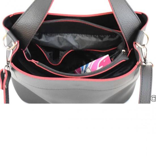 Жіноча модельна сумка LUCHERINO 516 чорний + червоний