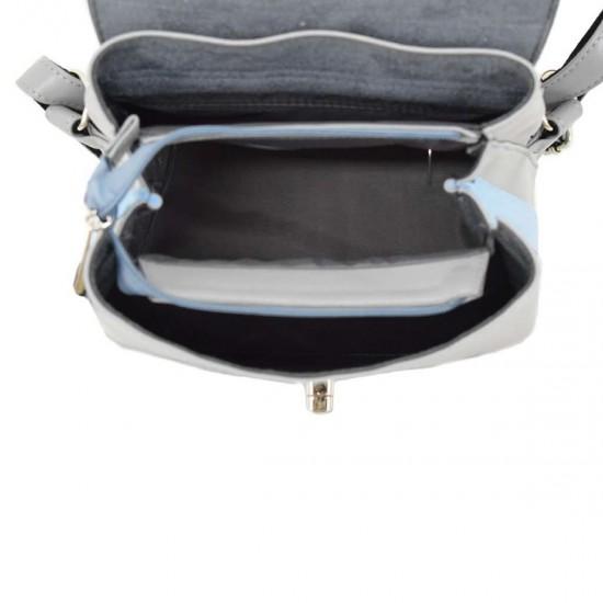 Женская рюкзак из натуральной замши LUCHERINO 646 серый + голубой