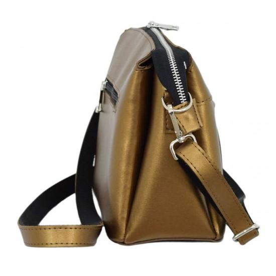 Жіноча сумочка на три відділення LUCHERINO 676  золото