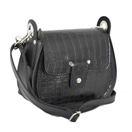 Жіноча сумочка LUCHERINO 662 чорний крокодил
