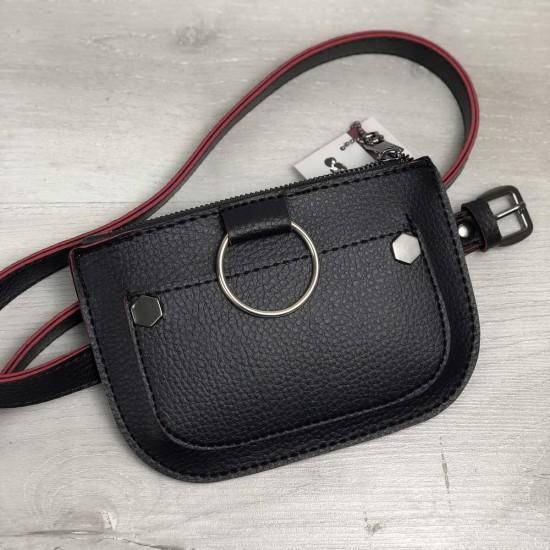 Жіноча сумочка на пояс WELASSIE Кеті чорний + червоний