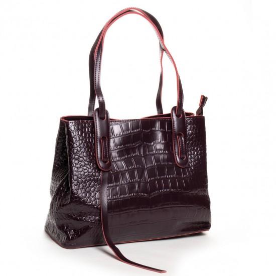 Жіноча сумка з натуральної шкіри ALEX RAI 16-3204 бордовий
