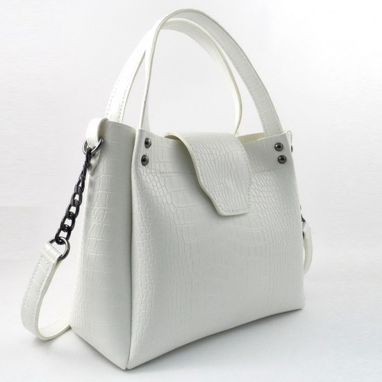 Жіноча модельна сумка LARGONI 1742A білий крокодил