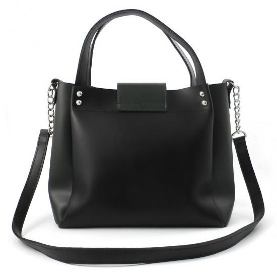 Женская модельная сумка LARGONI 1742A черный + зеленый