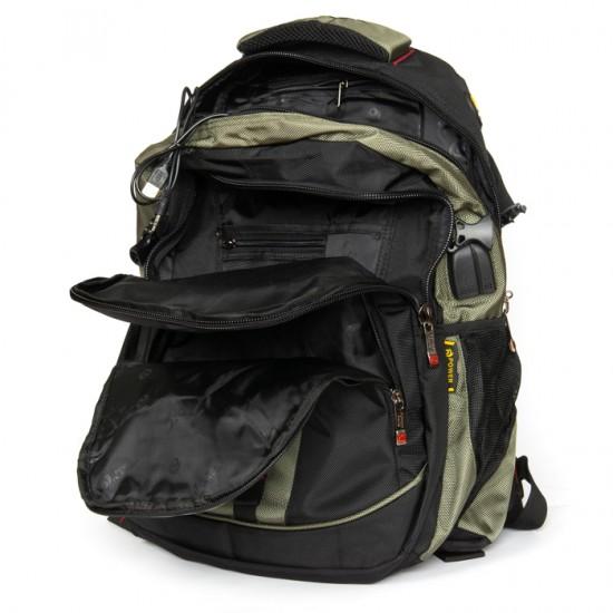 Городской рюкзак  Power In Eavas 8518 черный + зеленый