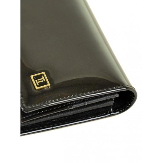 Женский кожаный лаковый кошелек Bretton Gold W0807 черный