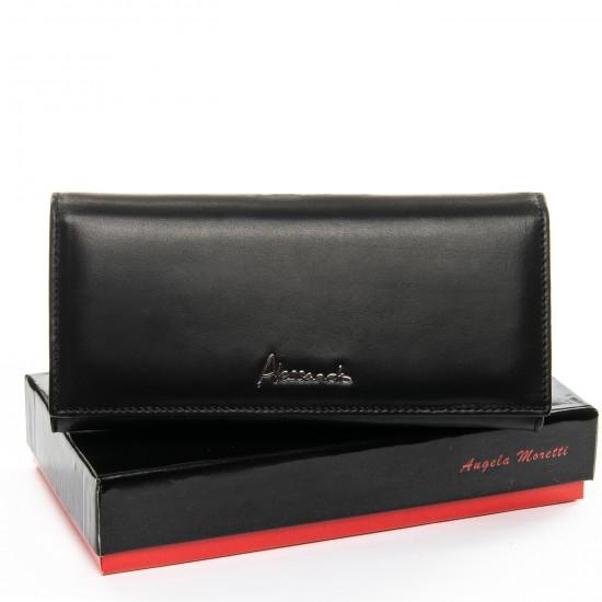 Женский кожаный кошелек ALESSANDRO PAOLI W501-2 черный