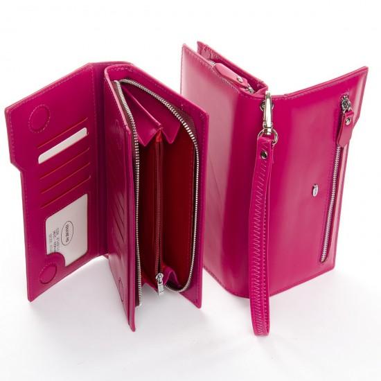 Женский кожаный кошелек dr.Bond Classic WMB-2M розовый