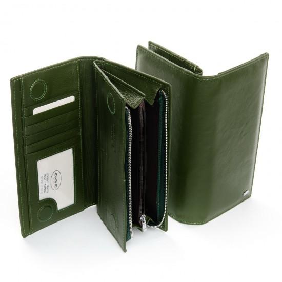 Женский кожаный кошелек dr.Bond Classic WMB-3M зеленый