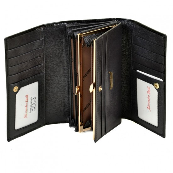 Женский кожаный кошелек ALESSANDRO PAOLI W34-1 черный