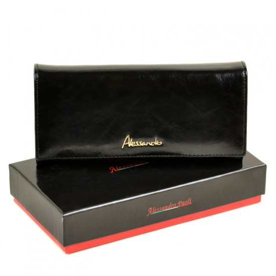 Женский кожаный кошелек ALESSANDRO PAOLI W0807 черный