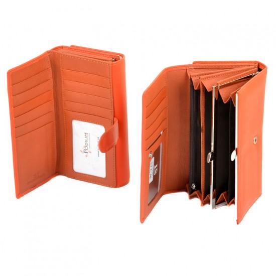 Жіночий шкіряний гаманець SERGIO TORRETTI W46 помаранчевий