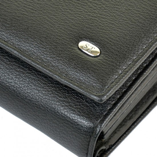 Женский кожаный кошелек SERGIO TORRETTI W46 черный
