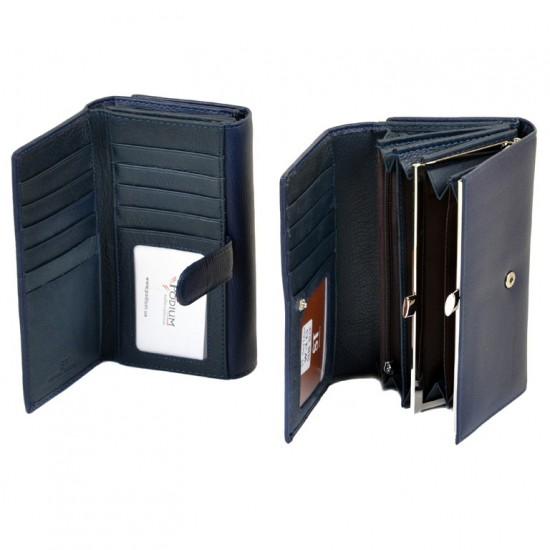 Женский кожаный кошелек SERGIO TORRETTI W46 темно-синий