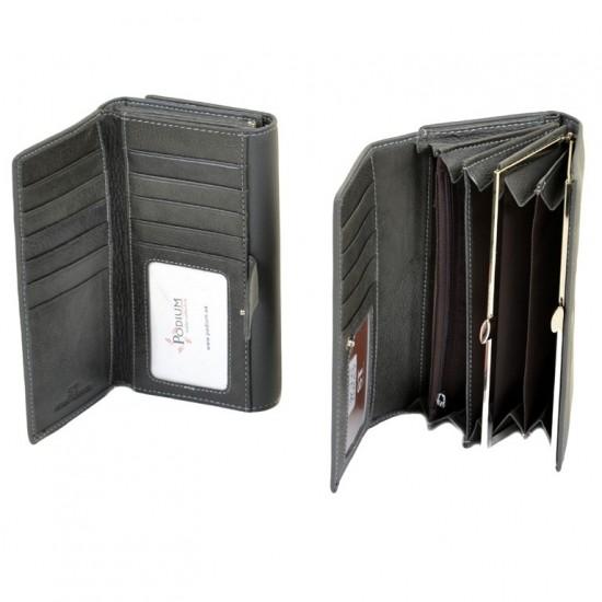 Женский кожаный кошелек SERGIO TORRETTI W46 серый