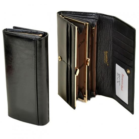 Женский кожаный кошелек ALESSANDRO PAOLI W1-V черный