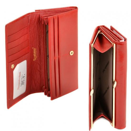 Жіночий шкіряний гаманець ALESSANDRO PAOLI W1 червоний
