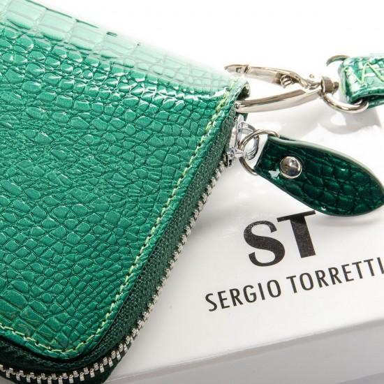 Женский кожаный кошелек SERGIO TORRETTI W38 зеленый