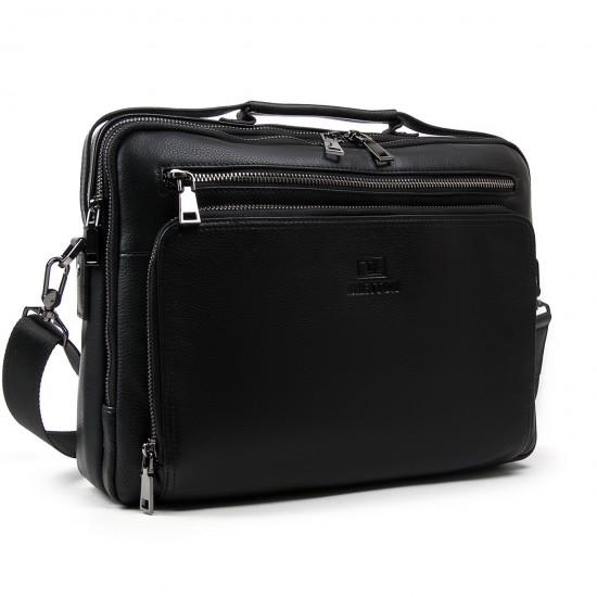 Ділова сумка-портфель з натуральної шкіри Bretton 3492-8 чорний