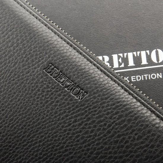 Чоловічий великий шкіряний гаманець-барсетка Bretton 162-22 чорний