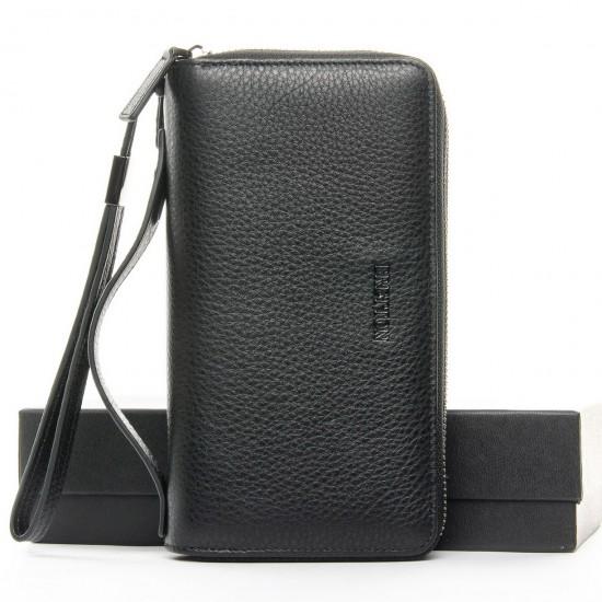 Мужской большой кожаный кошелек-барсетка Bretton 162-12 черный