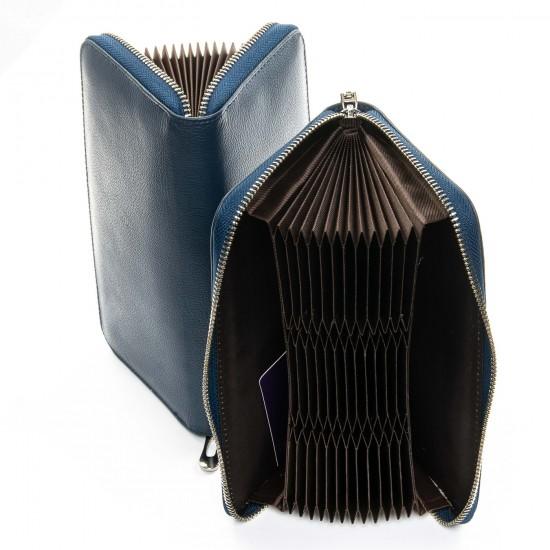 Женский кожаный кошелек визитница dr.Bond Classic WS-8 темно-синий