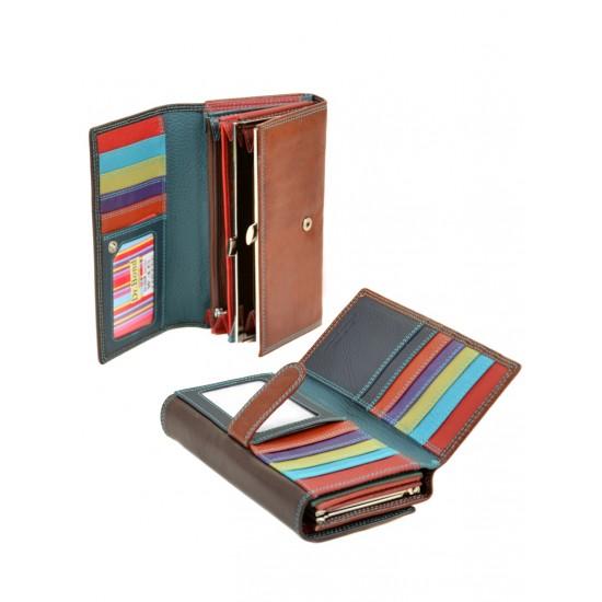 Жіночий шкіряний гаманець dr.Bond Rainbow WR46 кавовий