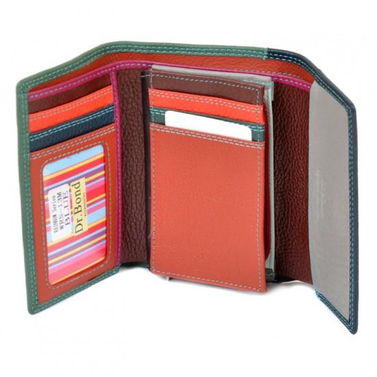 Жіночий шкіряний гаманець dr.Bond Rainbow WRS-13M синій
