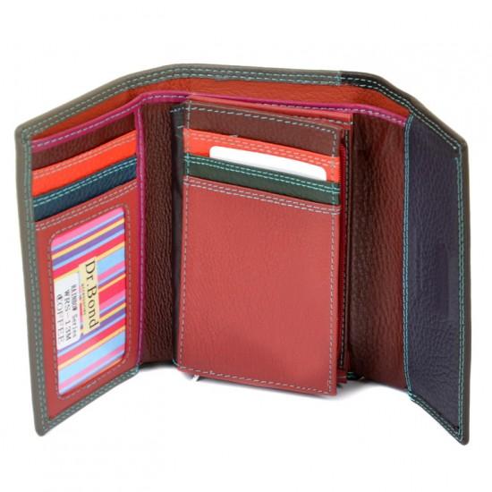 Жіночий шкіряний гаманець dr.Bond Rainbow WRS-13M кавовий