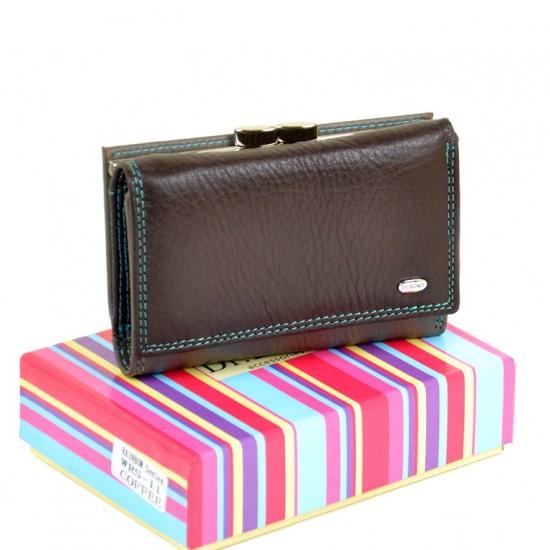 Жіночий шкіряний гаманець dr.Bond Rainbow WRS-11 кавовий