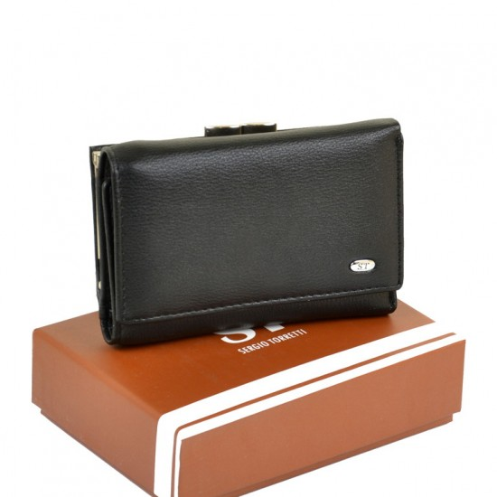 Жіночий шкіряний гаманець SERGIO TORRETTI W11 чорний
