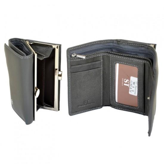 Женский кожаный кошелек SERGIO TORRETTI W11 серый