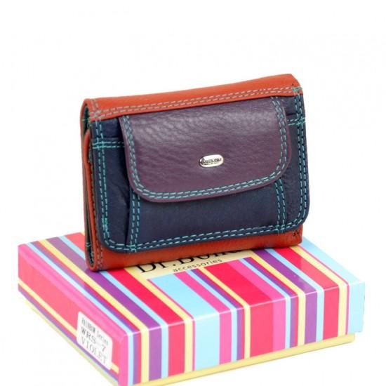 Женский кожаный кошелек dr.Bond Rainbow WRS-7 фиолетовый