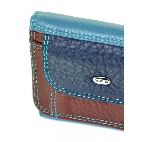 Жіночий шкіряний гаманець dr.Bond Rainbow WRS-7 синій