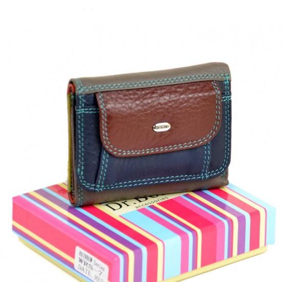 Женский кожаный кошелек dr.Bond Rainbow WRS-7 бордовый