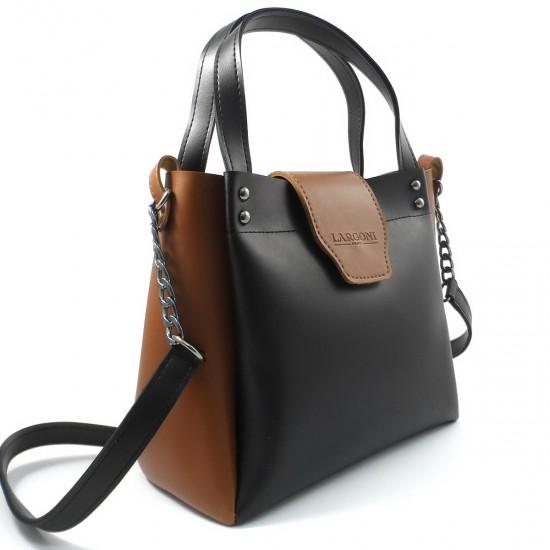 Жіноча модельна сумка LARGONI 1742A чорний + рудий