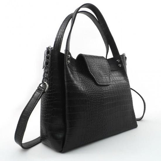 Женская модельная сумка LARGONI 1742A черный крокодил