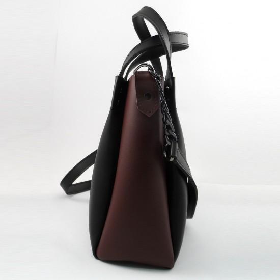 Женская модельная сумка LARGONI 1742A черный + бордо