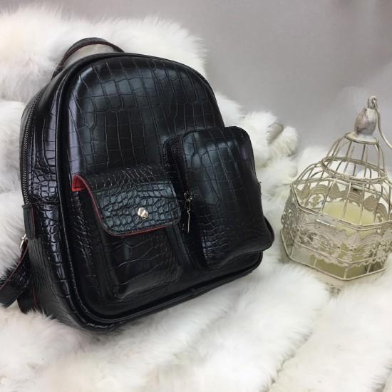 Женский рюкзак LARGONI 2073 черный крокодил